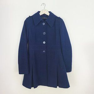 VIA SPIGA Wool Blend Peacoat Size 2 Navy Blue
